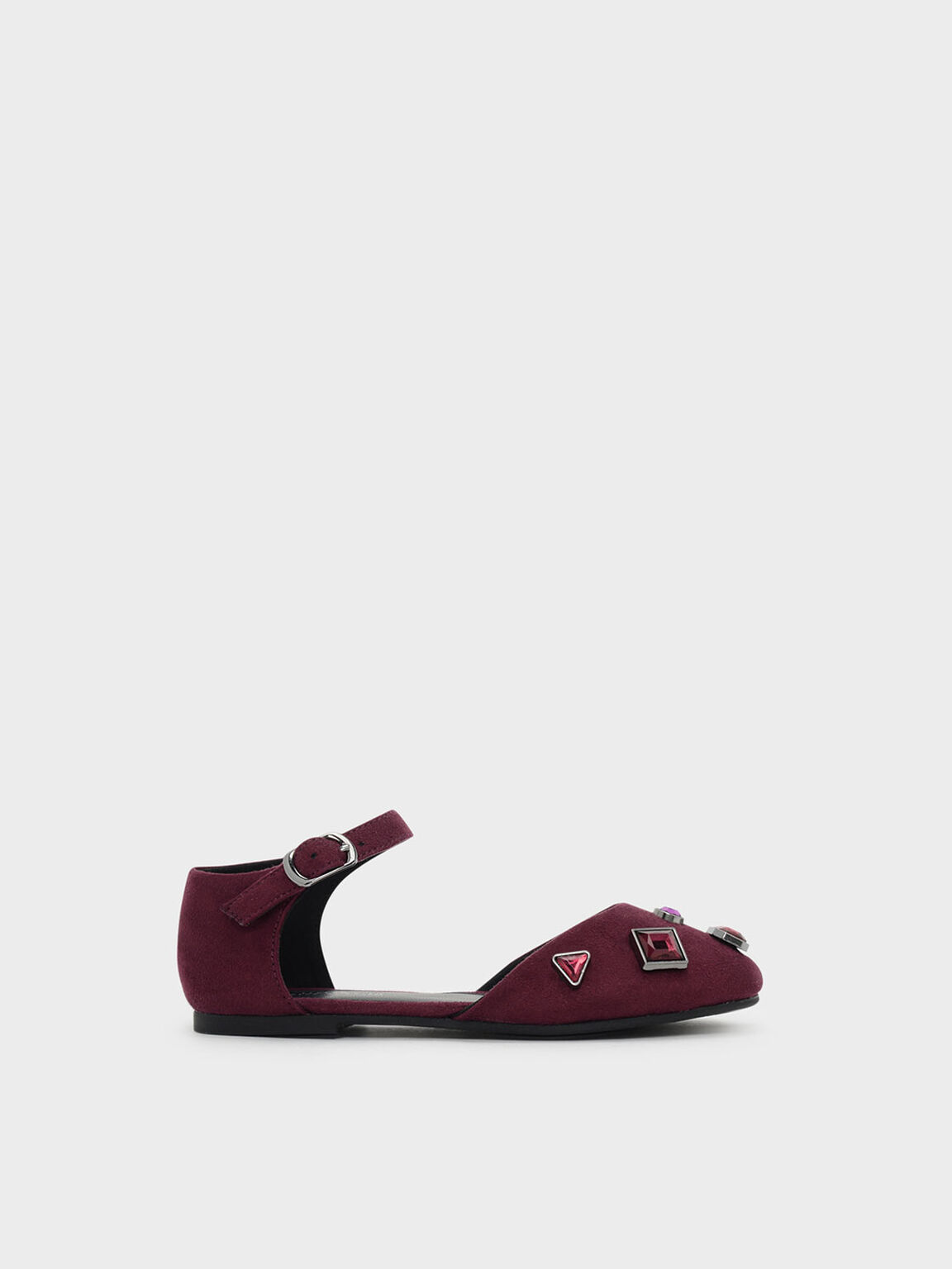 Kids Embellished Flats, Burgundy, hi-res