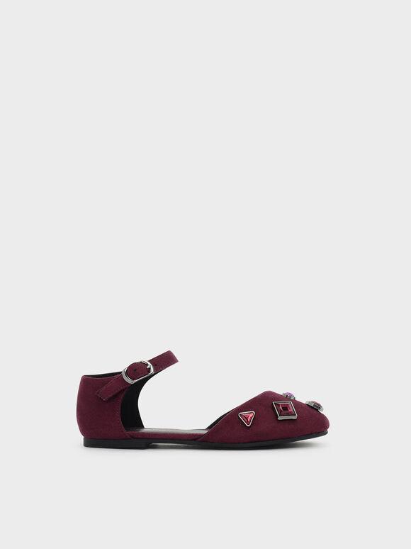 兒童寶石平底鞋, 酒紅色, hi-res