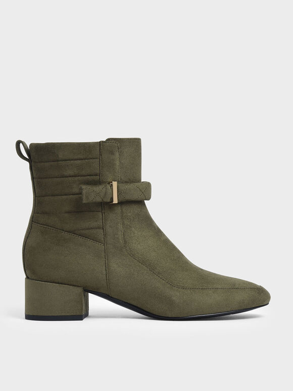 Textured Zip-Up Chunky Heel Ankle Boots, Olive, hi-res