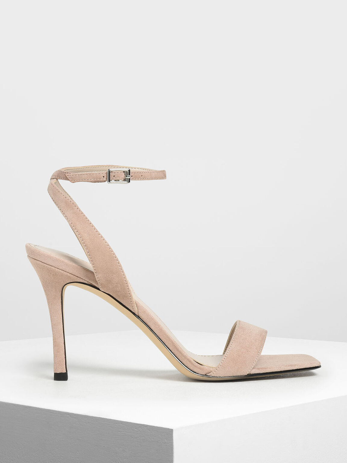 Open Toe Ankle Strap Stiletto Sandals, Nude, hi-res