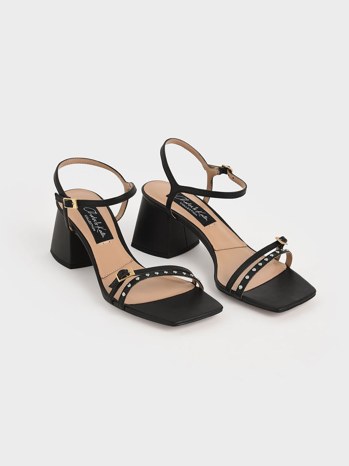 Studded Leather Heeled Sandals, Black, hi-res