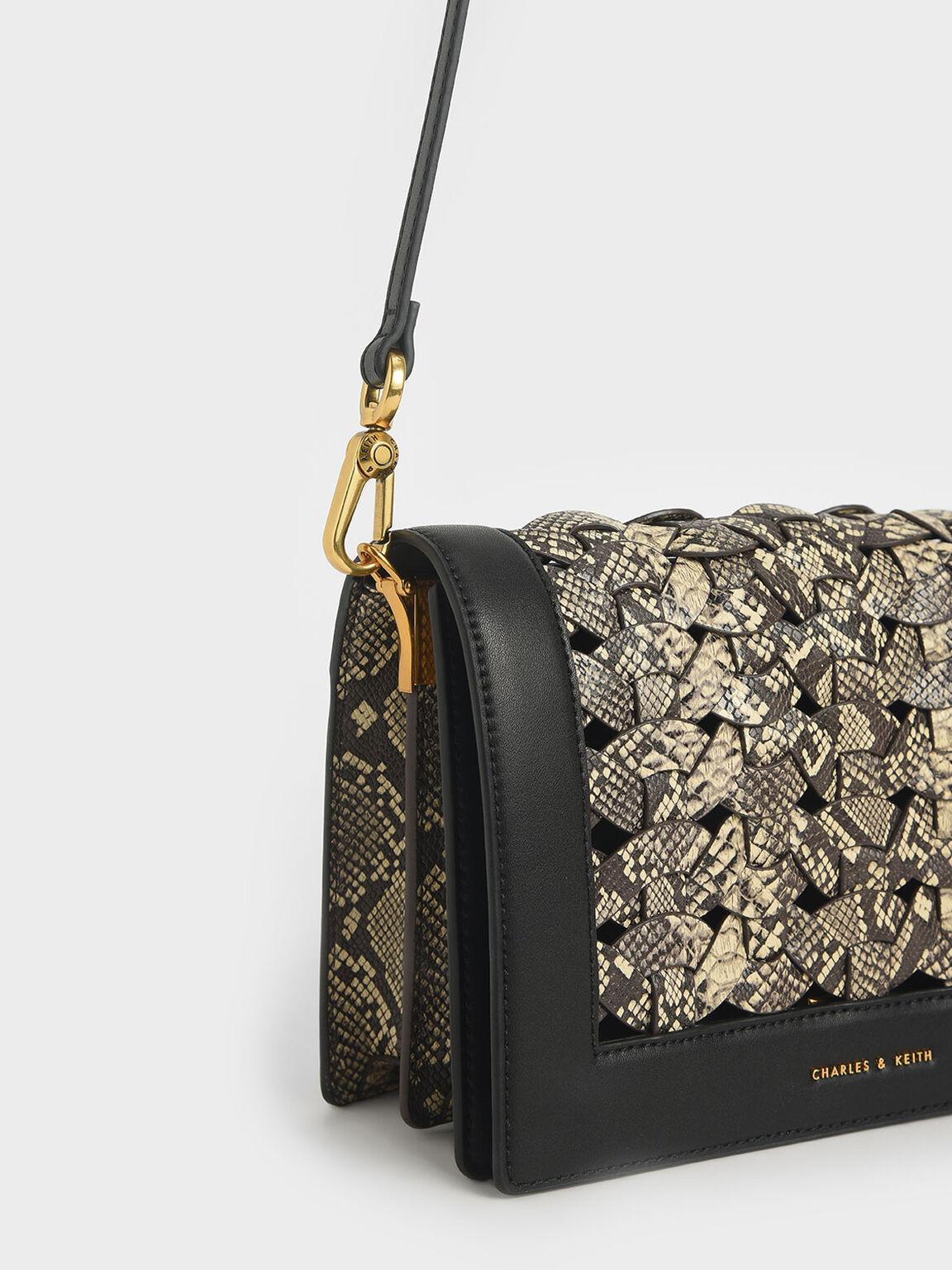 Snake Print Woven Shoulder Bag, Multi, hi-res