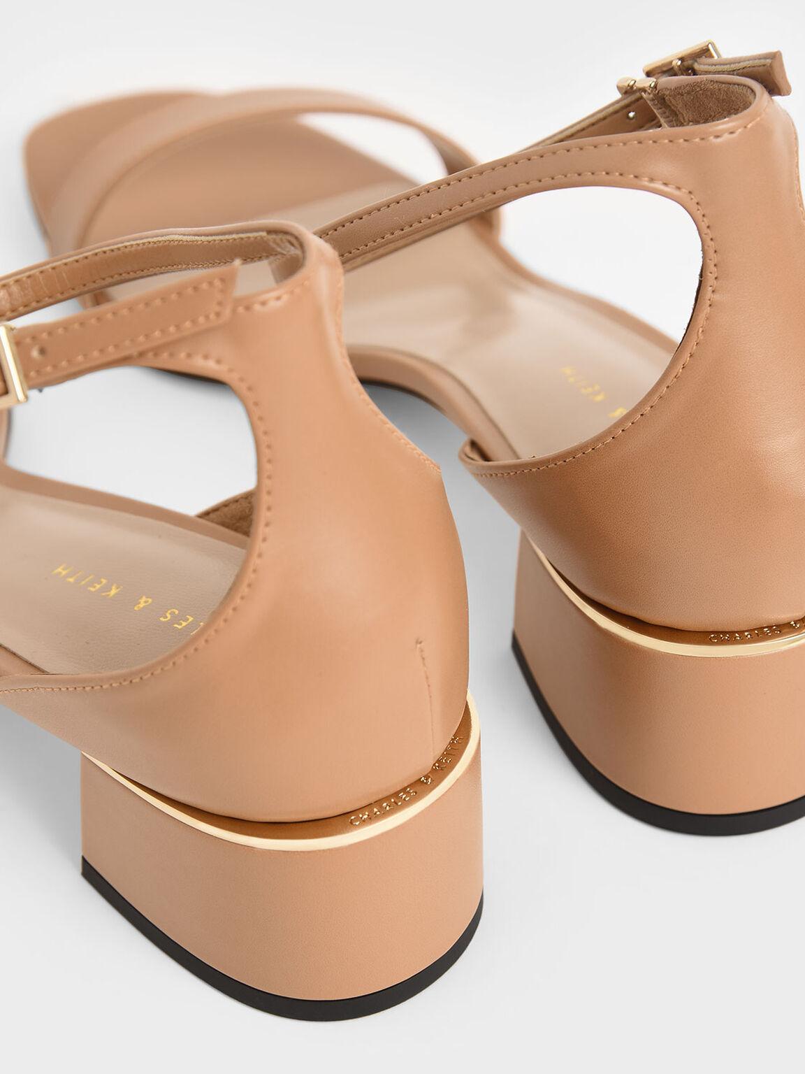 一字帶繞踝跟鞋, 焦糖色, hi-res