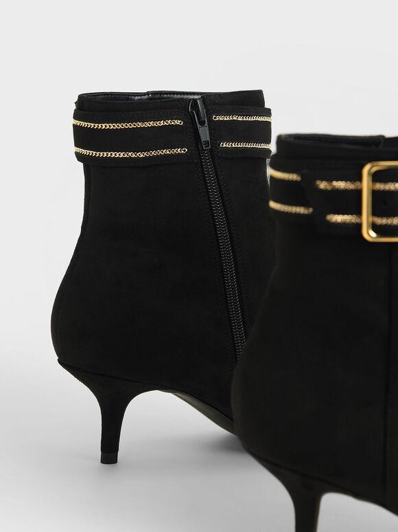 金屬鍊皮革帶短靴, 黑色, hi-res