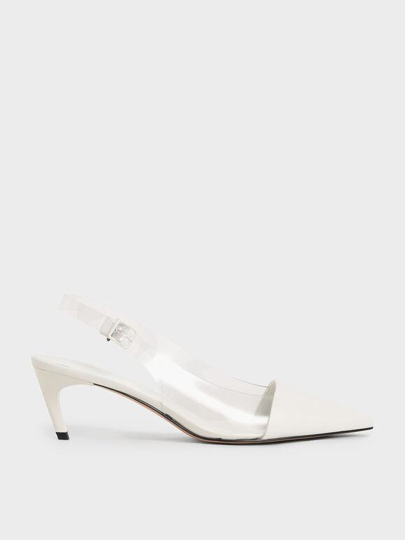 果凍拼接尖頭鞋, 白色, hi-res