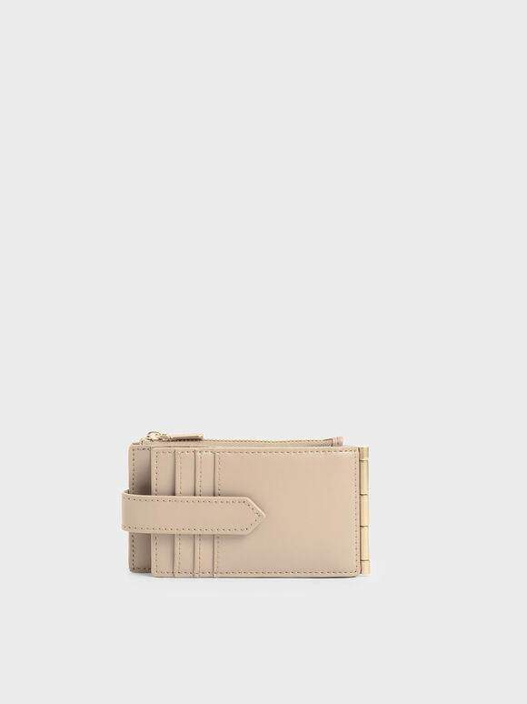 Thin Front Flap Card Holder, Beige, hi-res