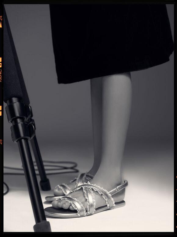 兒童荷葉邊涼鞋, 銀色, hi-res