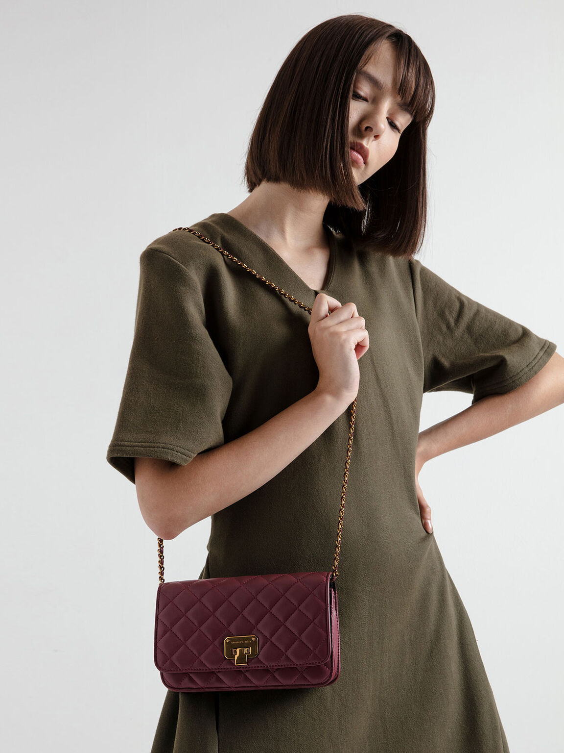Quilted Flip Lock Clutch, Burgundy, hi-res