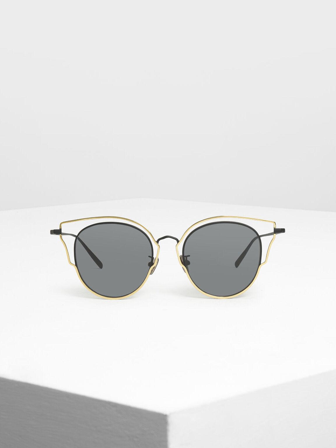 Double Frame Wingtip Sunglasses, Black, hi-res