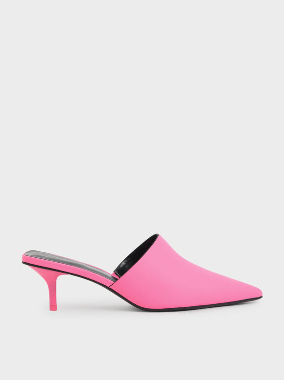 Pointed Toe Mules, Pink, hi-res