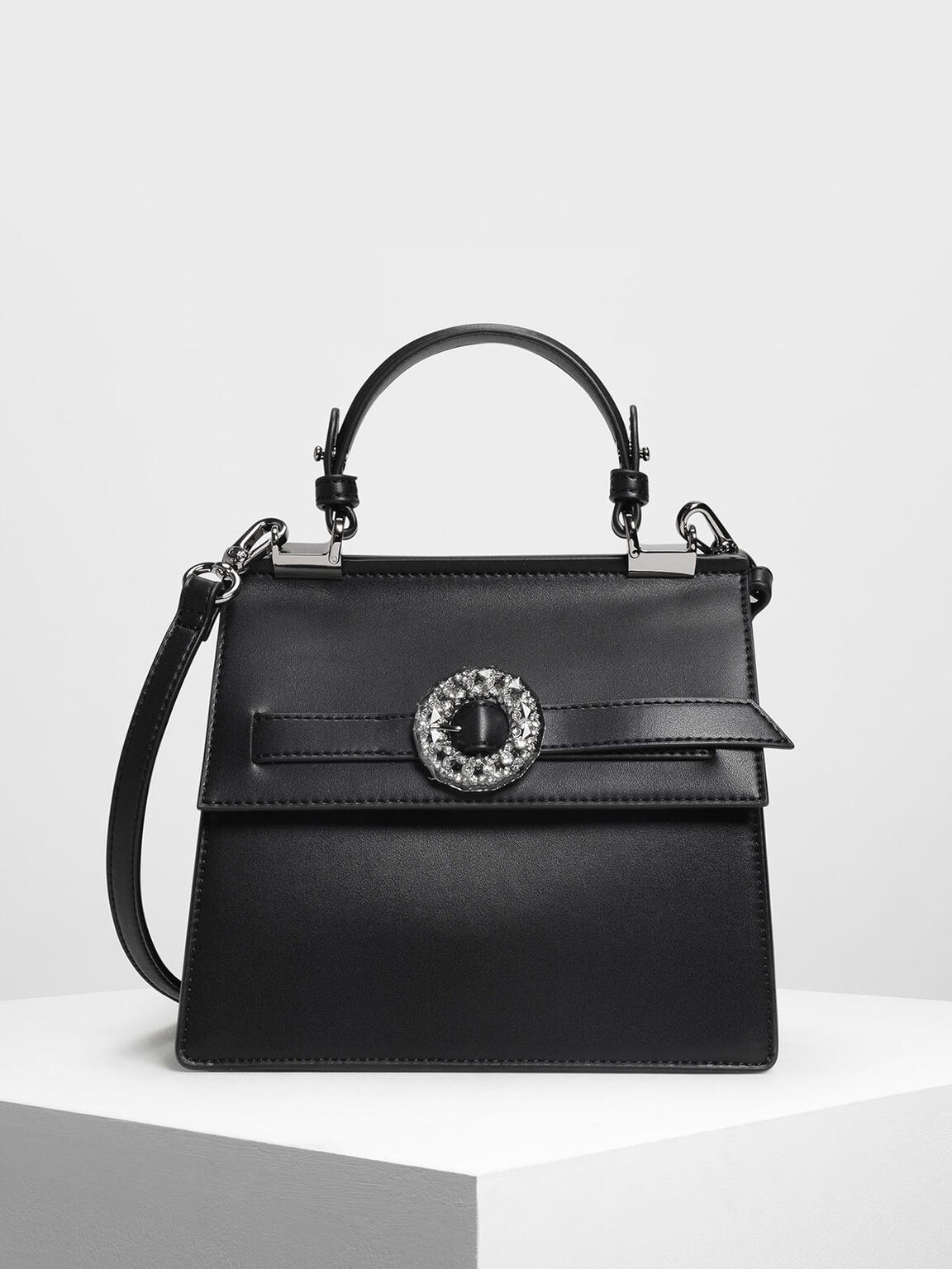 Crushed Gem Effect Buckle Detail Handbag, Black, hi-res