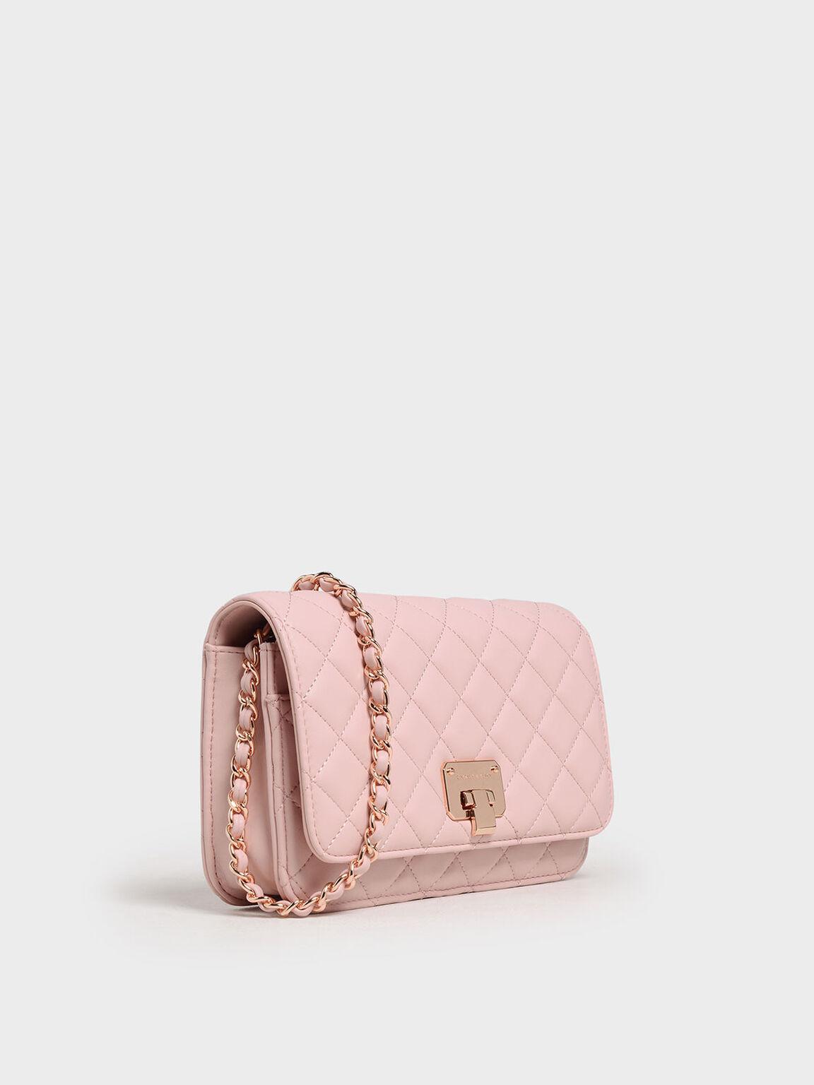 菱格紋手拿包, 粉紅色, hi-res