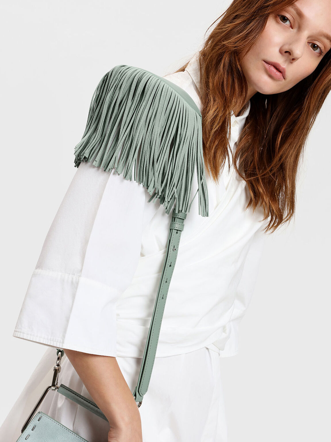 Fringe Detail Bag Strap, Sage Green, hi-res