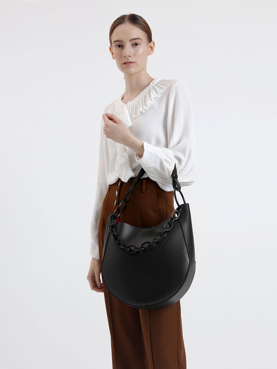Chunky Chain Link Large Hobo Bag, Black, hi-res
