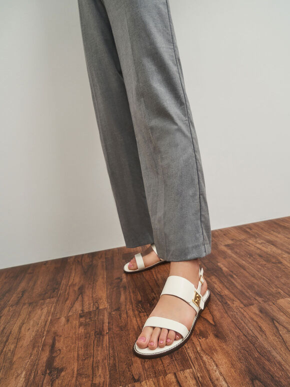 Metallic Buckle Sandals, Cream, hi-res
