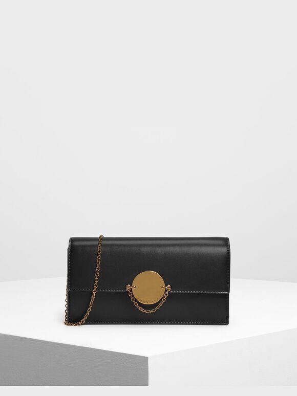 Chain Link Long Wallet, Black, hi-res