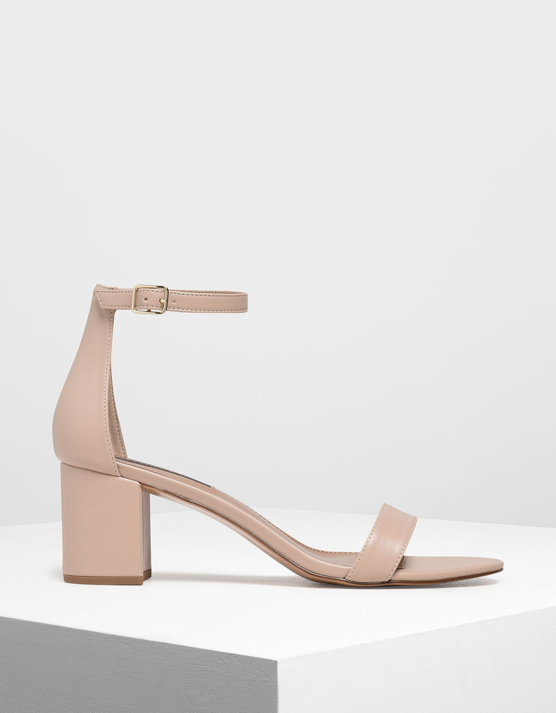 Nude Block Heel Ankle Strap Sandals