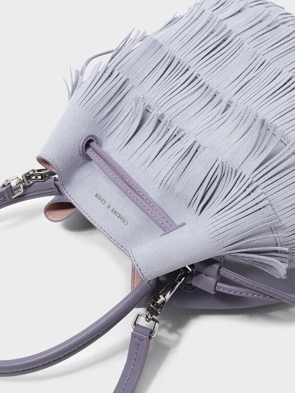 Classic Bucket Drawstring Bag, Lilac Grey, hi-res