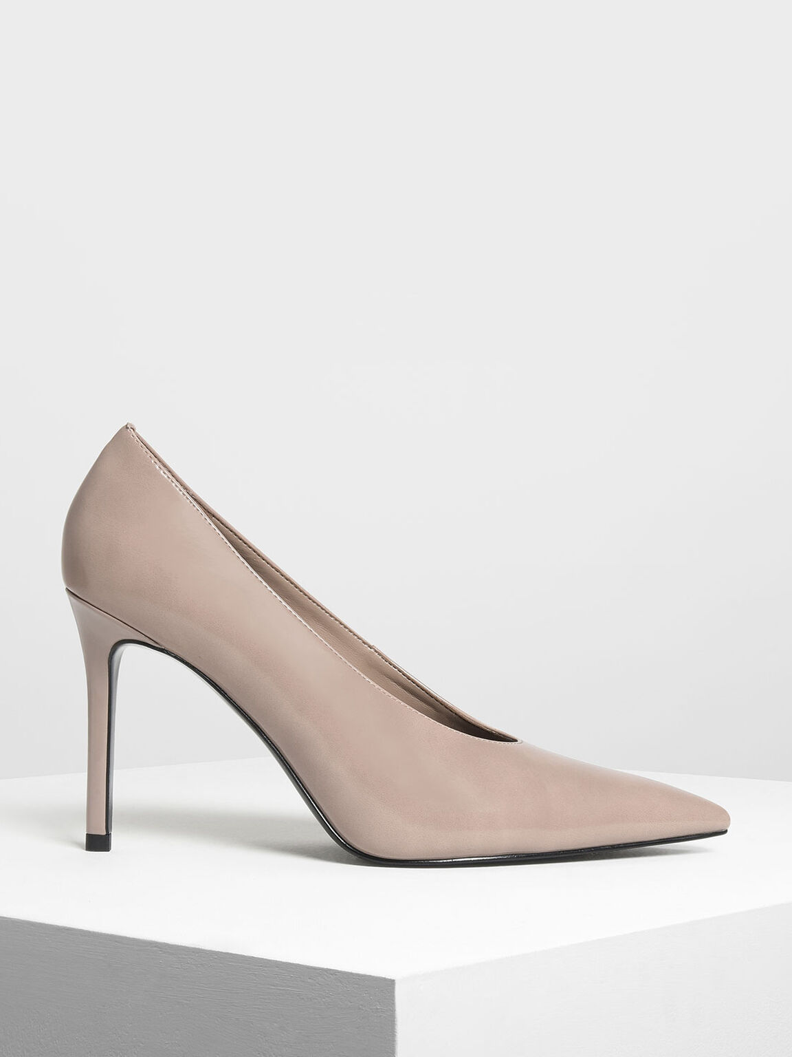 Pointed Toe Pumps, Taupe, hi-res
