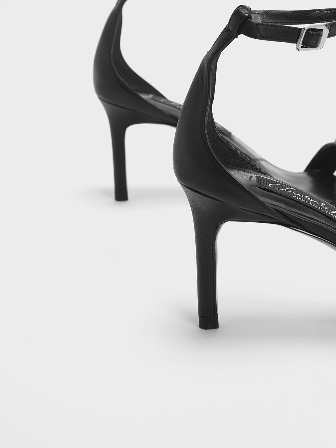 Chrome Button Detail Leather Stiletto Sandals, Black, hi-res