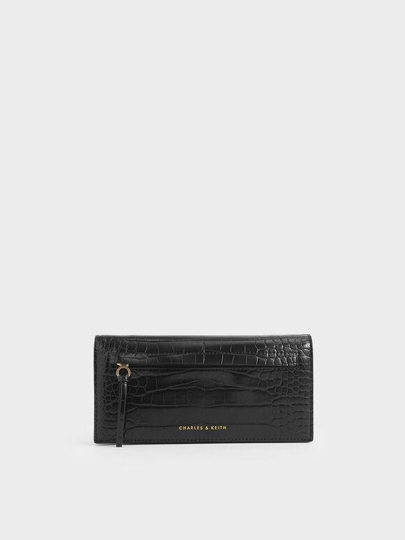 Mini Croc-Effect Front Zip Long Wallet, Black, hi-res