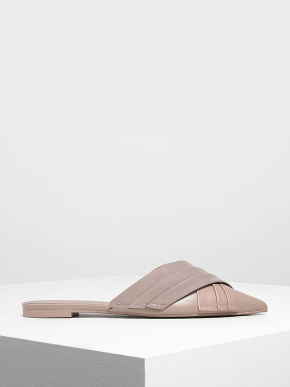 Pleated Patent Flat Mules, Nude, hi-res