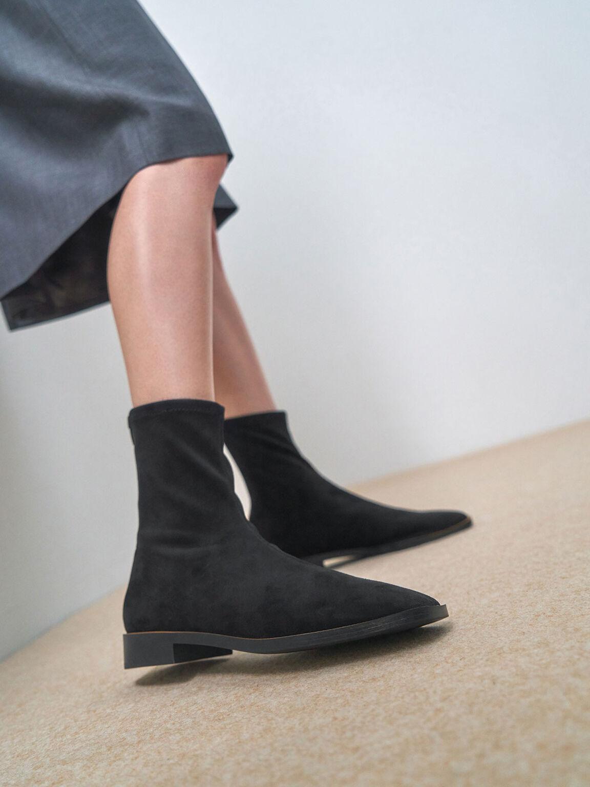 Textured Zip Ankle Boots, Black Textured, hi-res