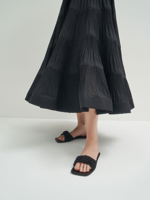 Pleated Fabric Knotted Slide Sandals, Black, hi-res