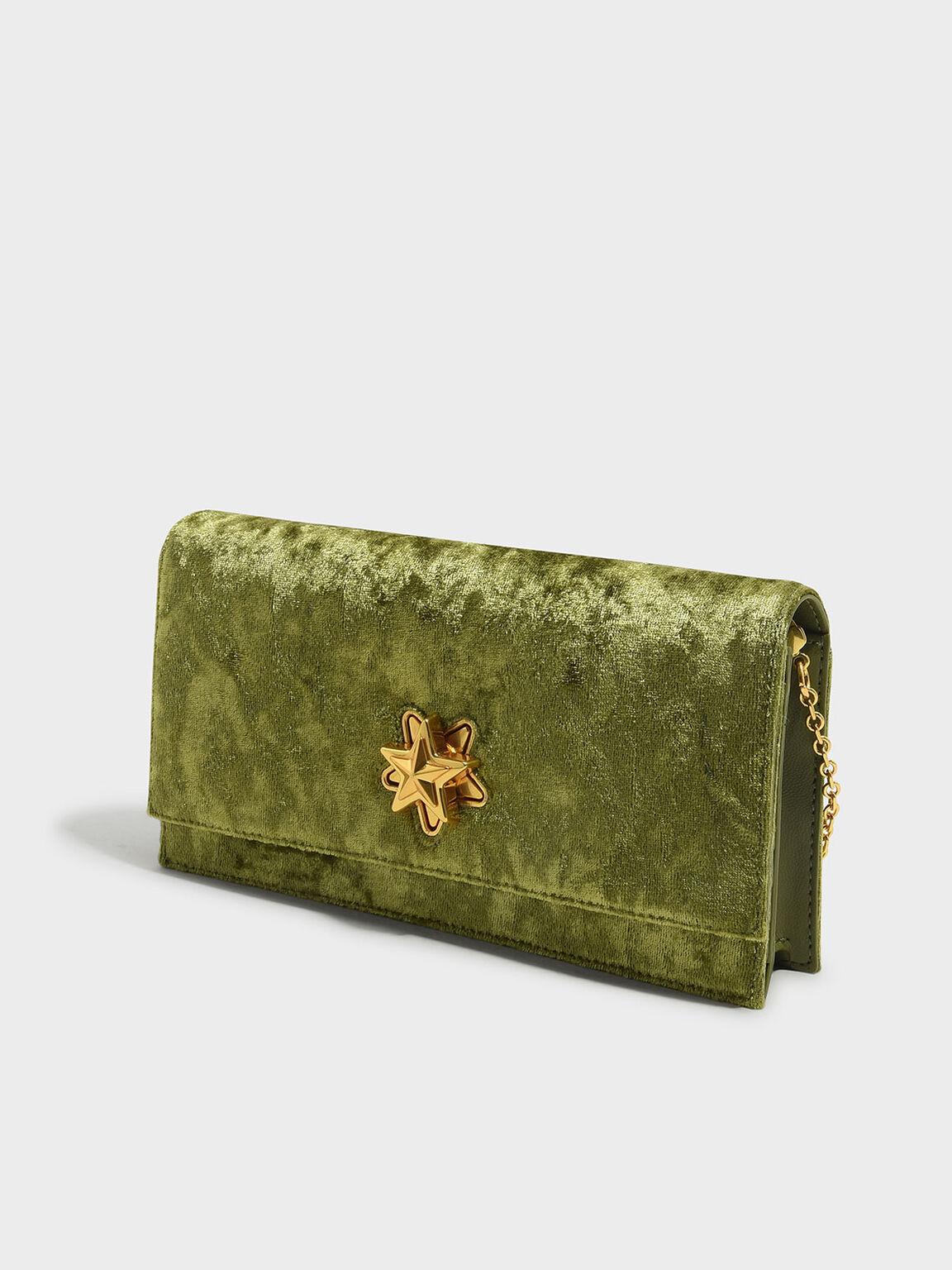 Embellished Long Wallet, Green, hi-res