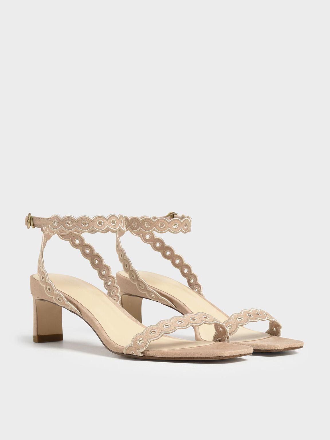Circle Detail Ankle Strap Heels, Beige, hi-res