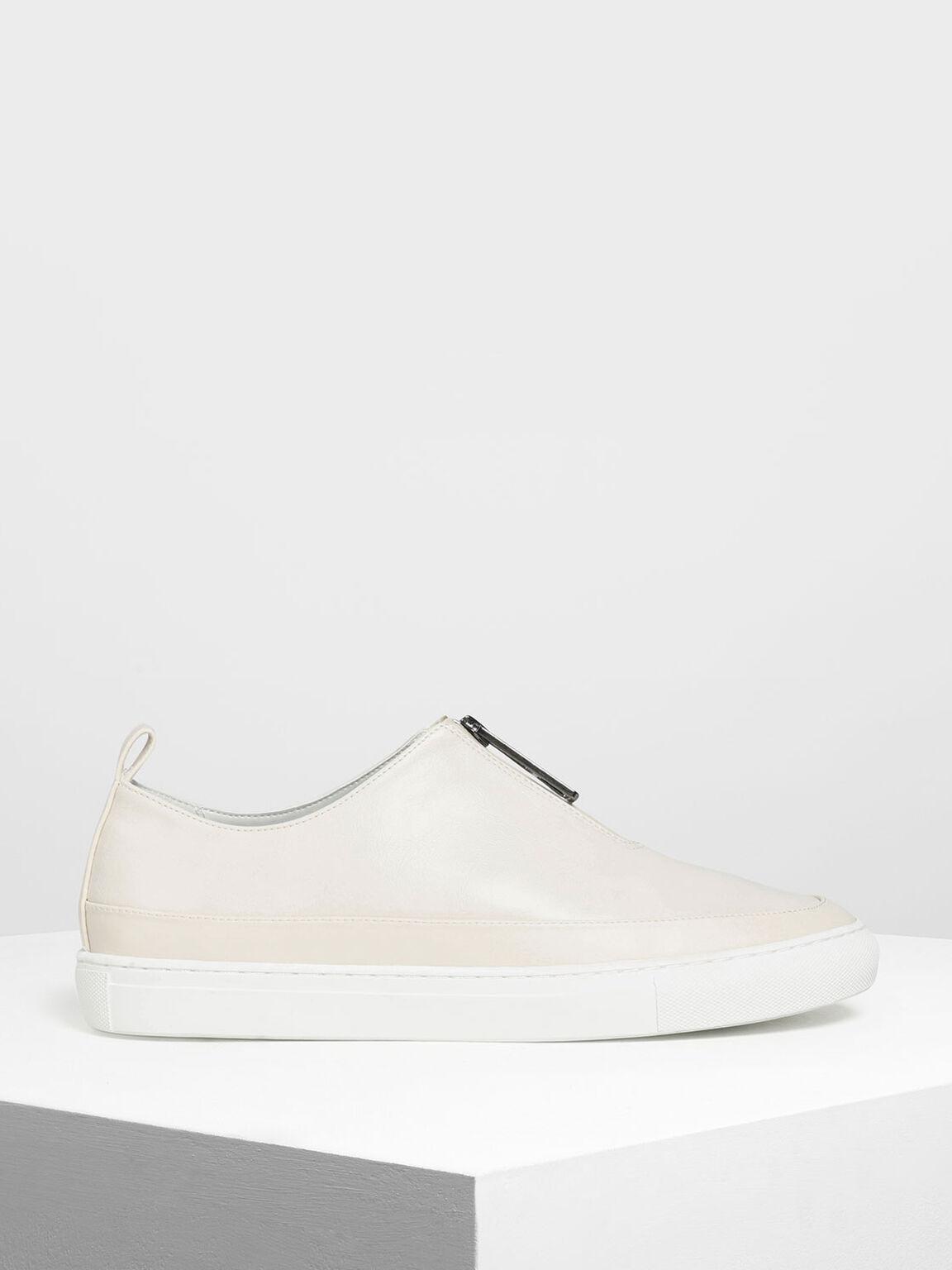 Zipper Detail Sneakers, Chalk, hi-res