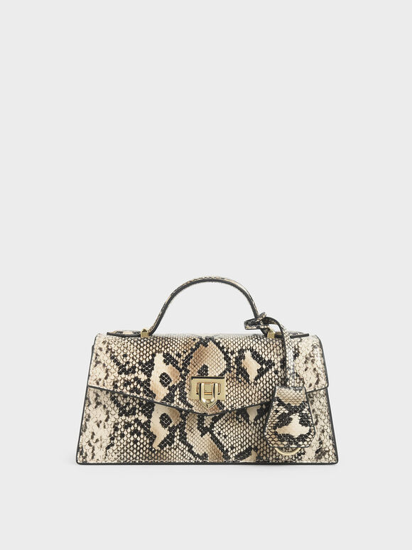 Snake Print Top Handle Trapeze Bag, Multi, hi-res