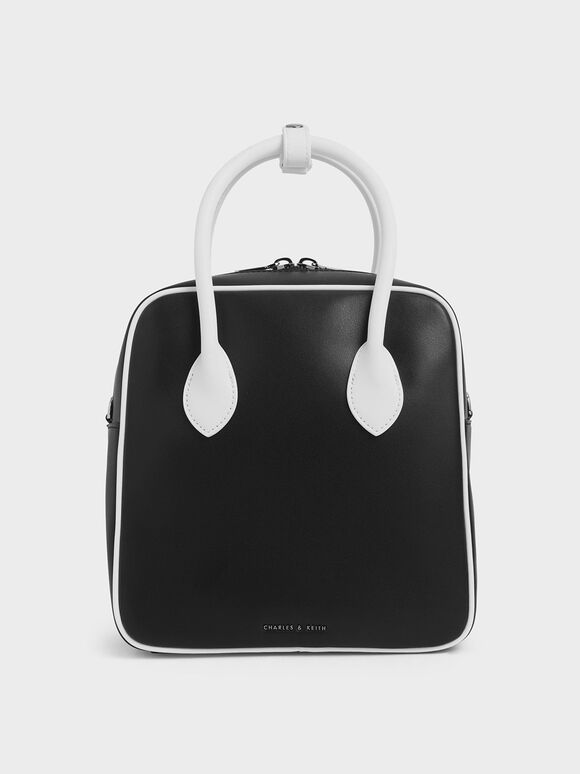 Two-Tone Double Handle Square Tote, Black, hi-res