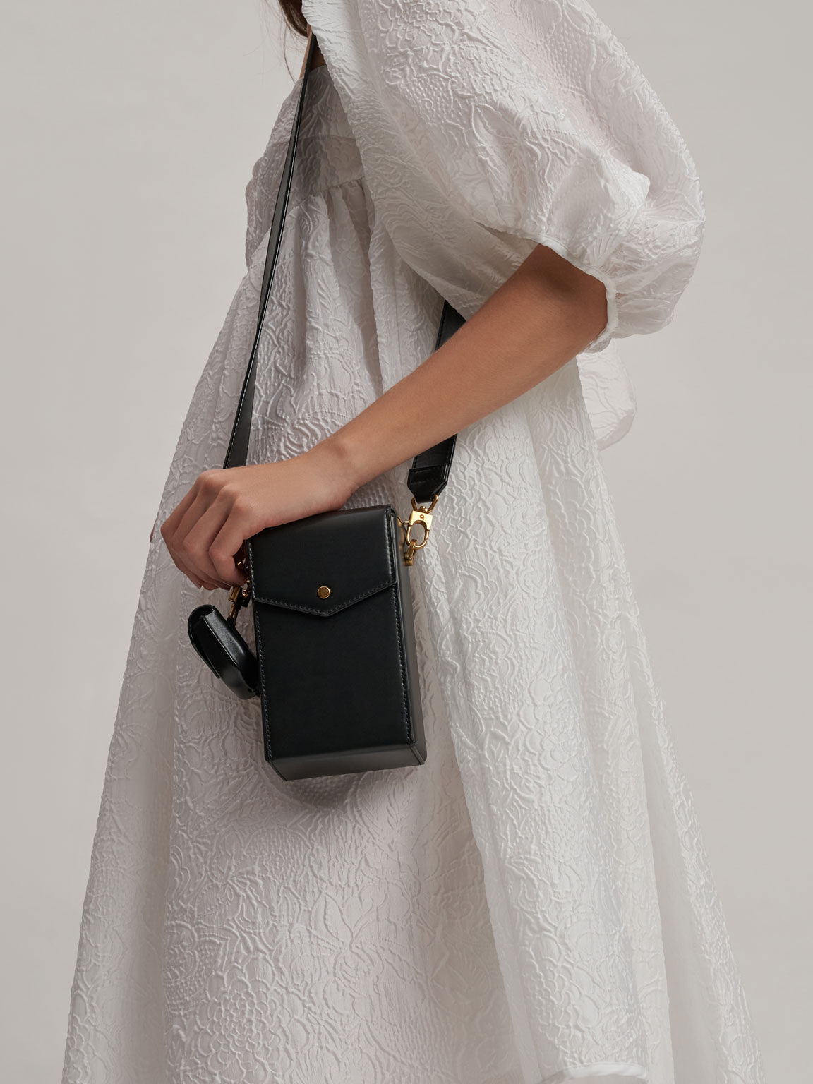 Elongated Crossbody Bag, Black, hi-res