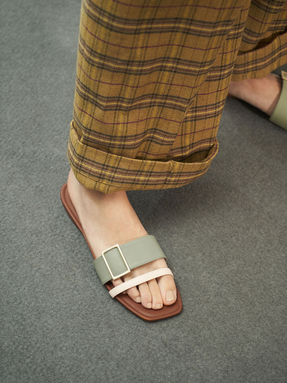 Buckle Slide Sandals, Sage Green, hi-res