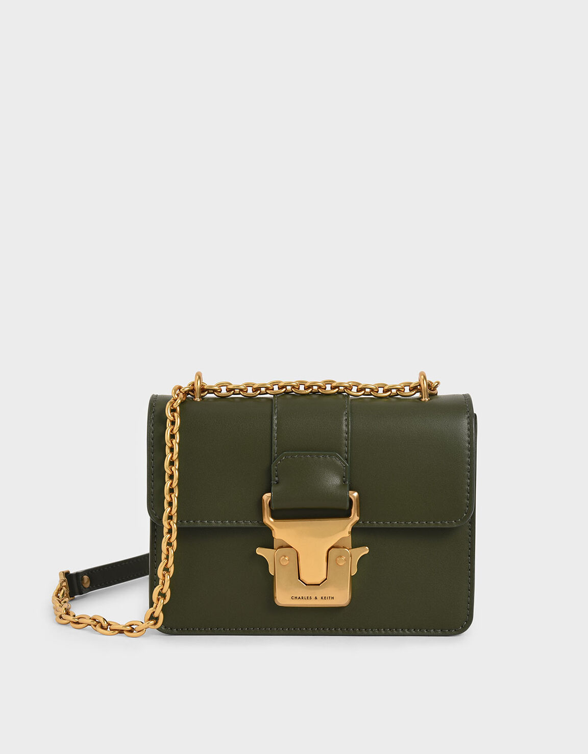 Brand New Charles and Keith Push Lock Front Flap Shoulder Bag with Gold Chain