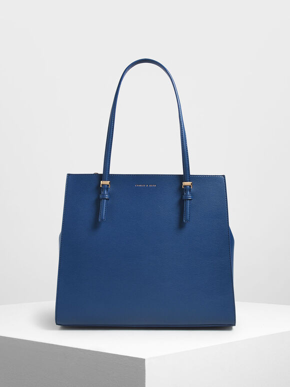 Double Handle Tote Bag, Dark Blue, hi-res