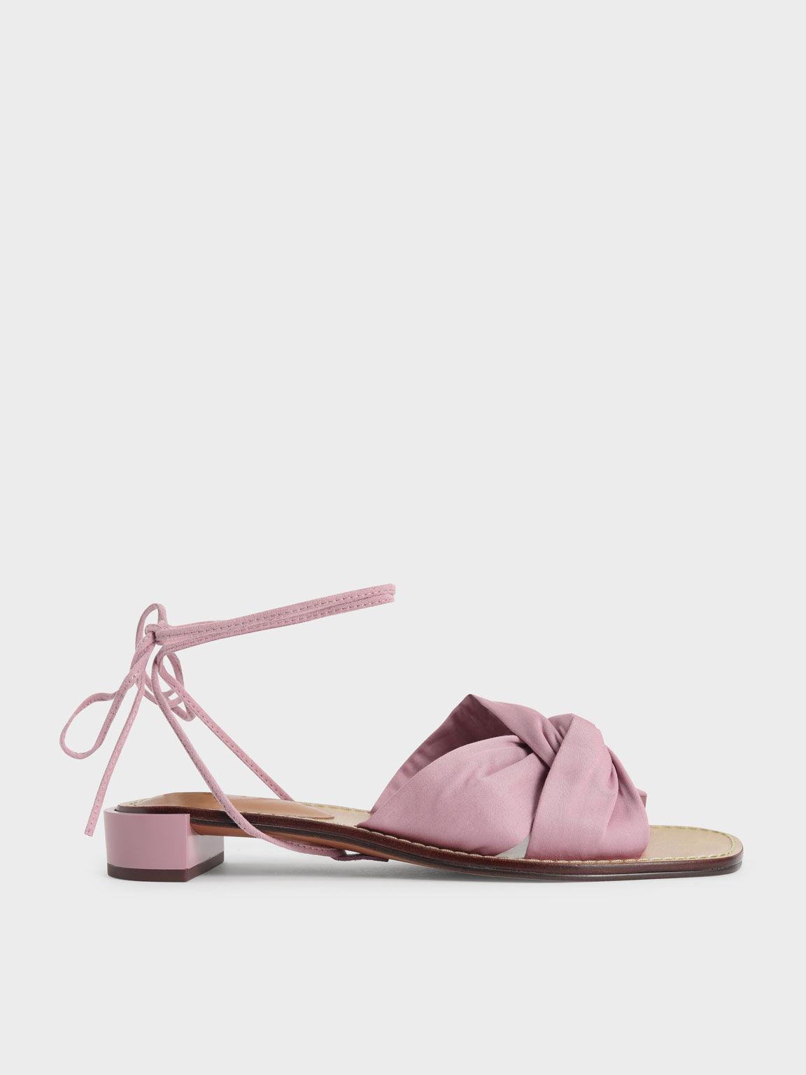 側扭結綁帶涼鞋, 粉紅色, hi-res