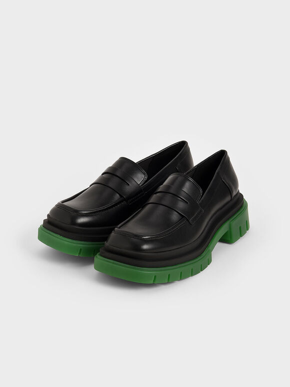 Chunky Sole Penny Loafers, Black, hi-res