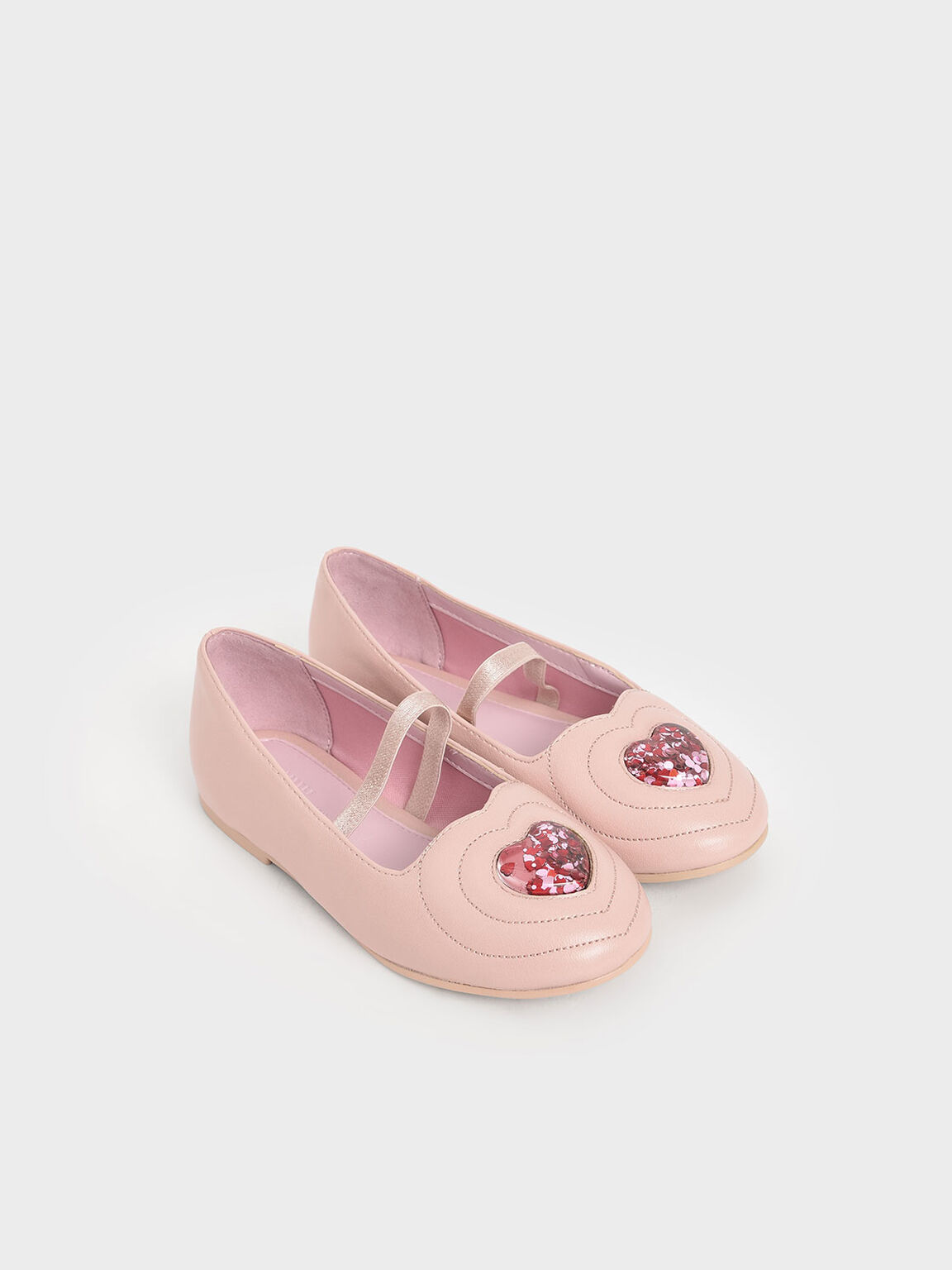 Girls' Sequin Heart Ballerina Flats, Nude, hi-res