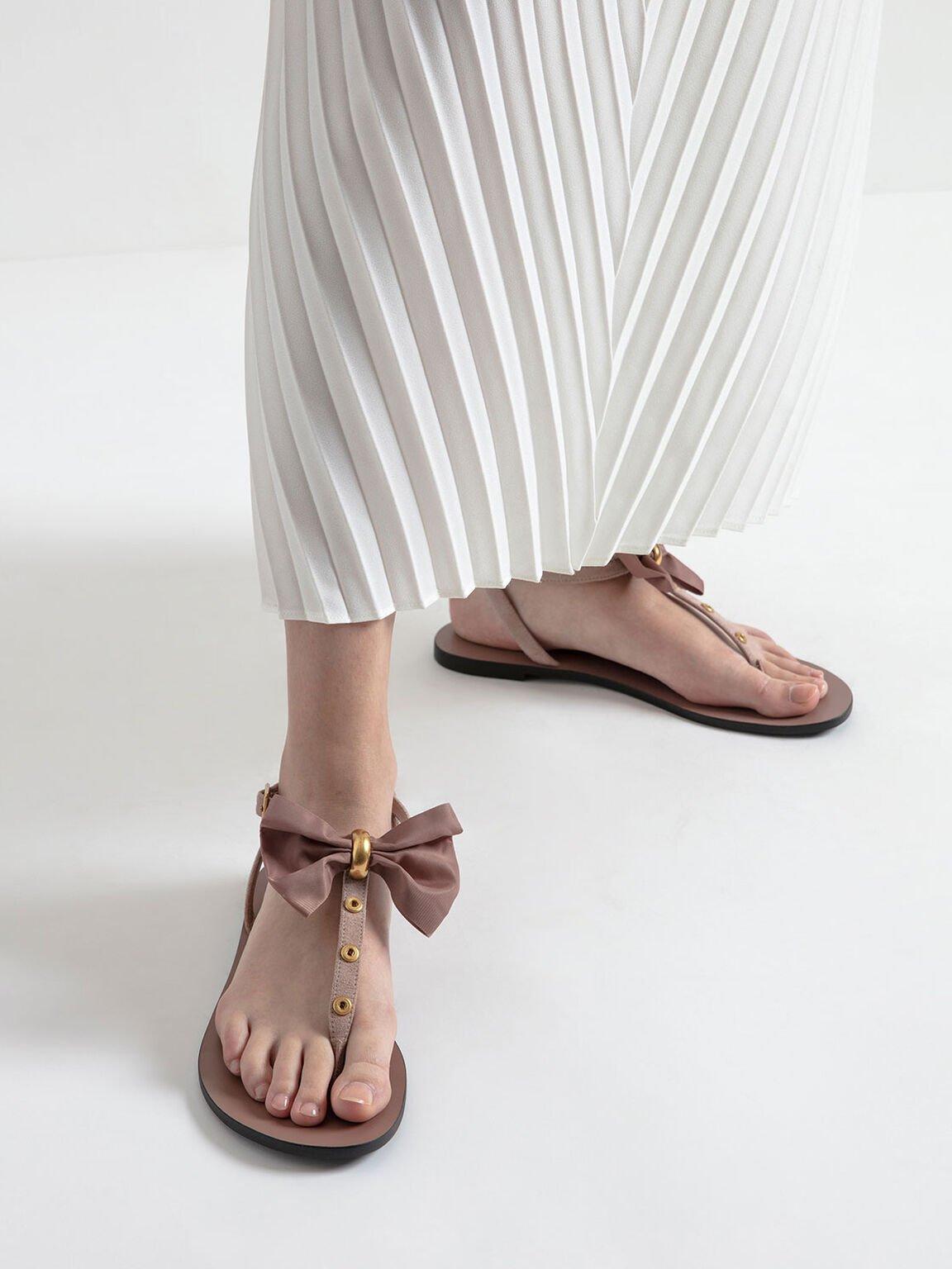 蝴蝶結夾腳涼鞋, 膚色, hi-res