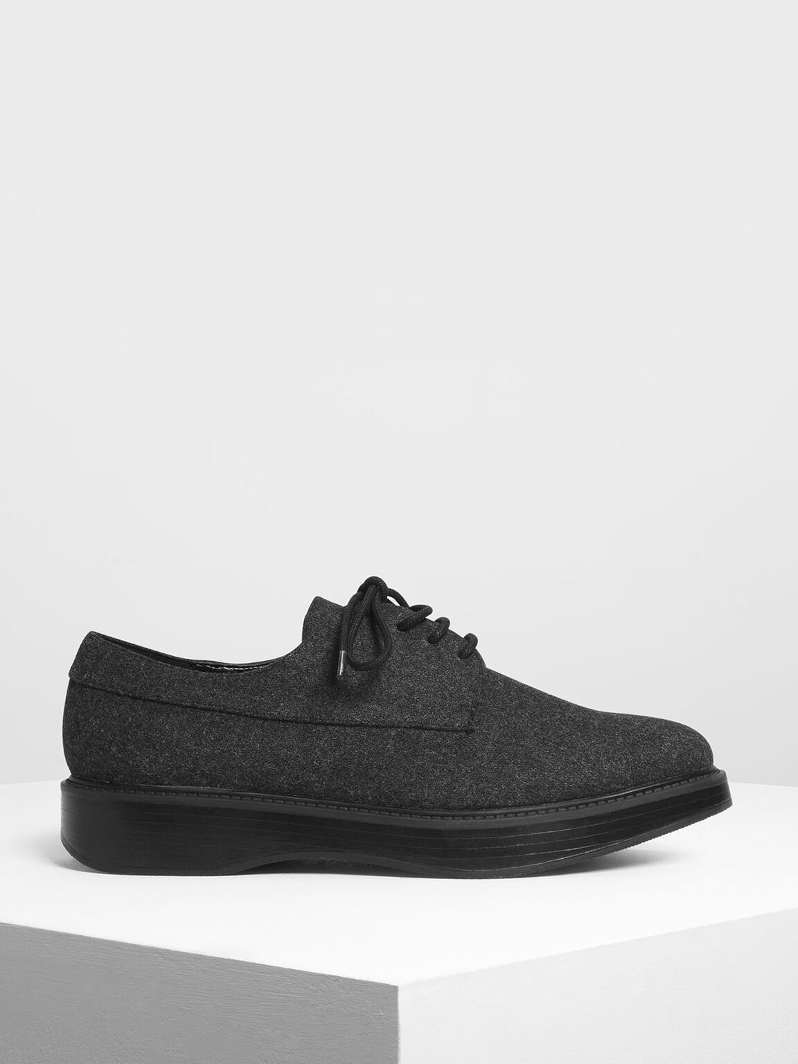 Textured Classic Derby Shoes, Black Textured, hi-res