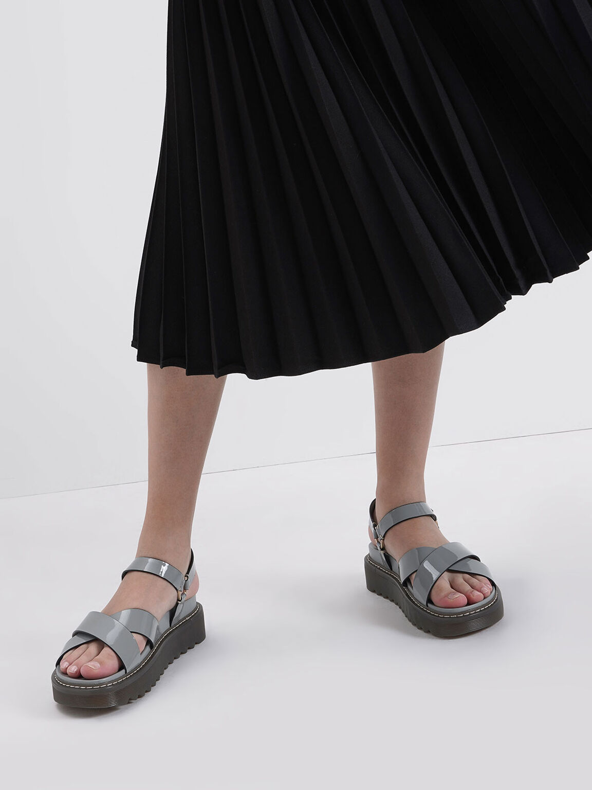Patent Criss Cross Flatform Sandals, Light Blue, hi-res