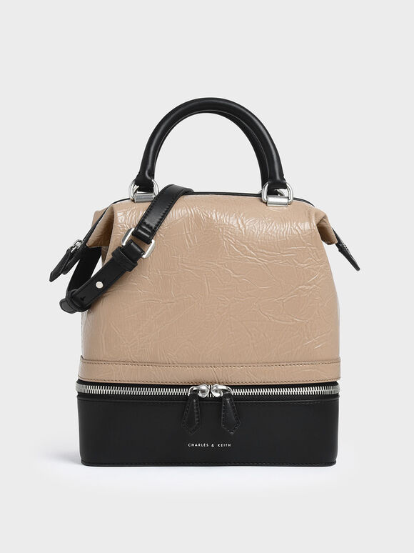 Wrinkled Effect Two-Way Zip Large Boxy Bag, Beige, hi-res
