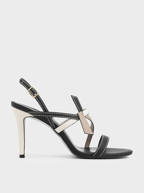Front Knot Tie Stiletto Sandals, Multi, hi-res