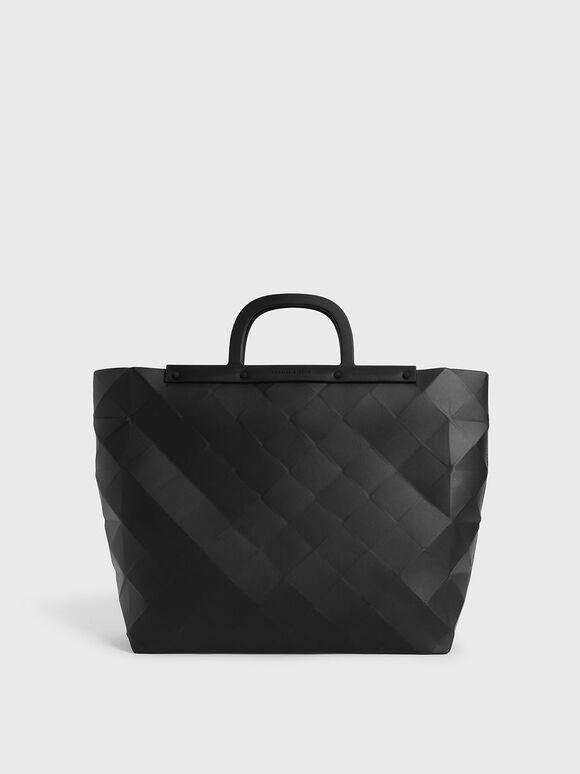 Double Handle Large Geometric Tote, Black, hi-res