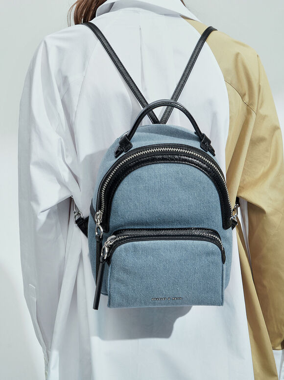 Textured Top Handle Backpack, Denim Blue, hi-res