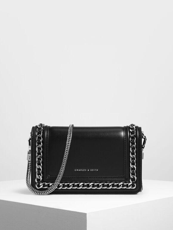 Chain Detail Clutch, Black, hi-res