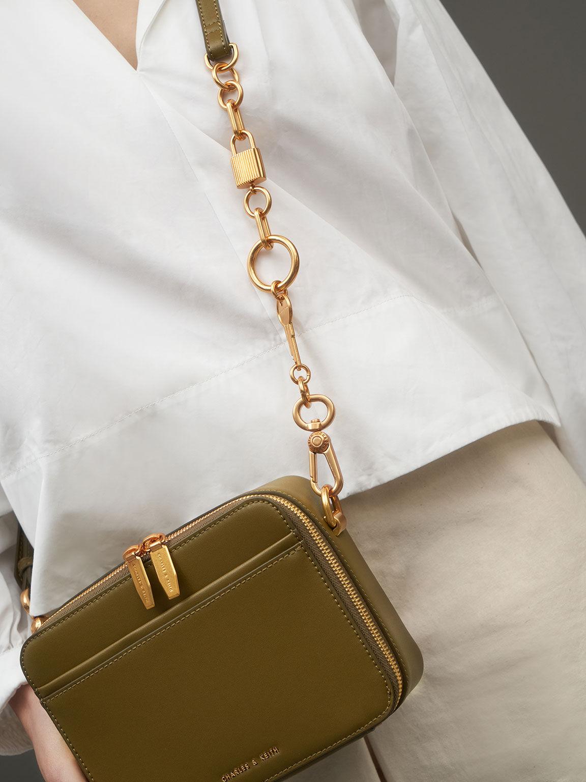 Chunky Chain Handle Two-Way Zip Crossbody Bag, Olive, hi-res