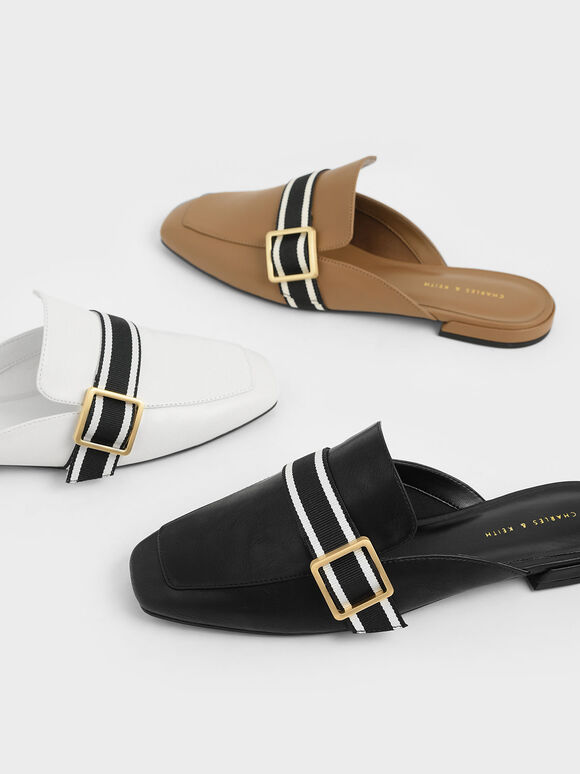 Striped Strap Loafer Mules, Black, hi-res